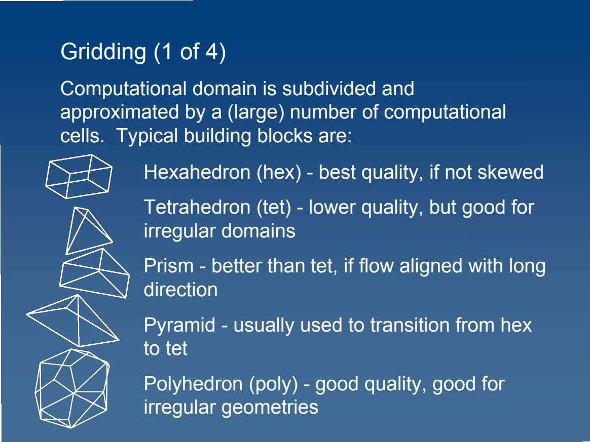 Gridding (1 of 4) Computational domain is subdivided and approximated by a (large) number of