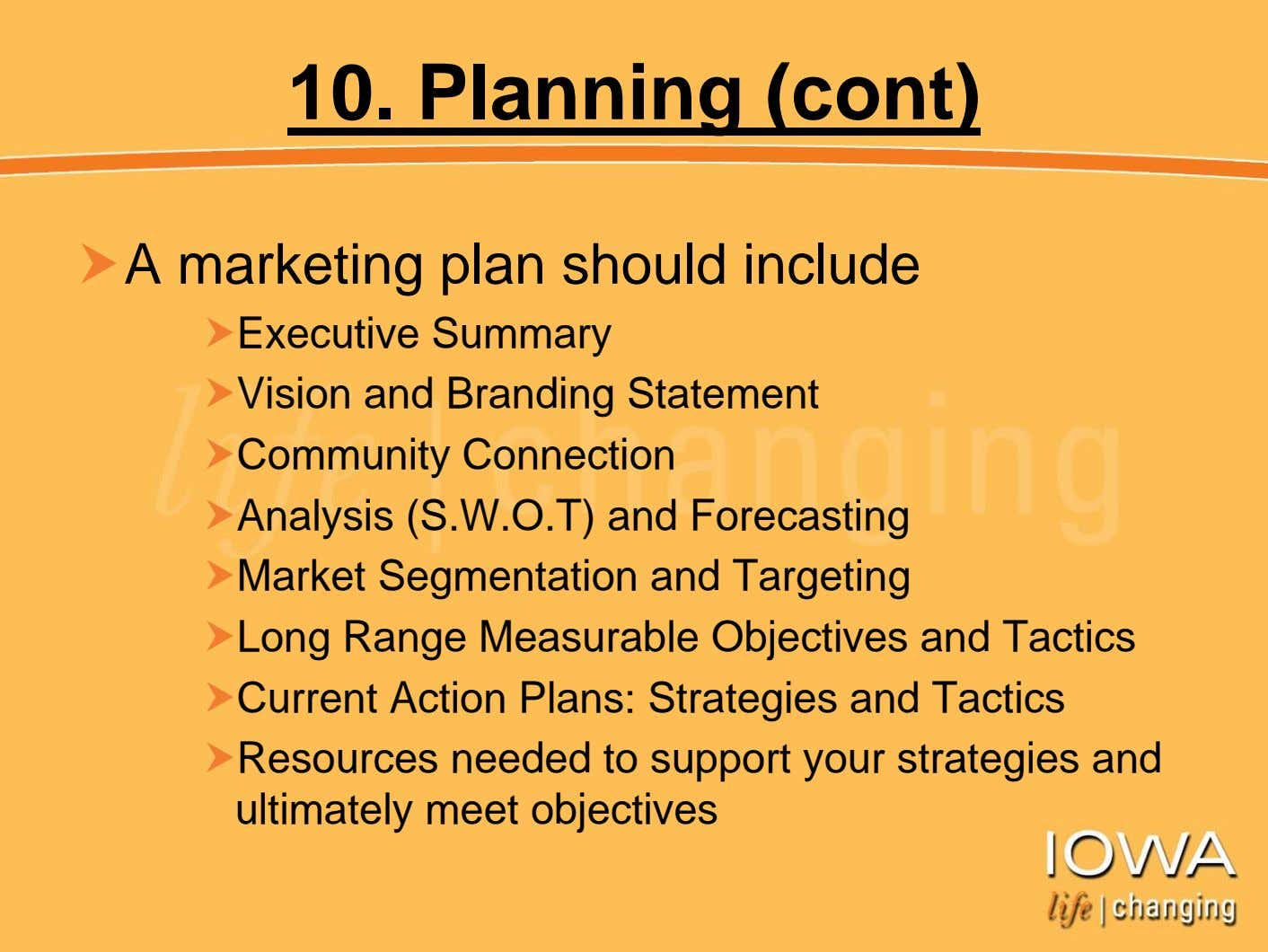 10. Planning (cont) A marketing plan should include Executive Summary Vision and Branding Statement Community