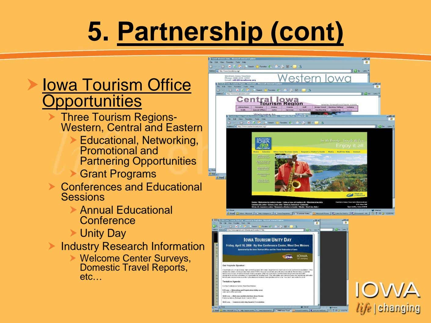 5. Partnership (cont) Iowa Tourism Office Opportunities Three Tourism Regions- Western, Central and Eastern