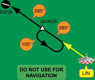 285° RW26 QUADS 285° 105° DO NOT USE FOR NAVIGATION LIN
