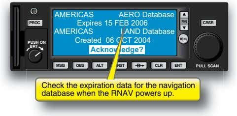 AMERICAS AERO Database Expires 15 FEB 2006 RNG PROC CRSR AMERICAS LAND Database Created 06