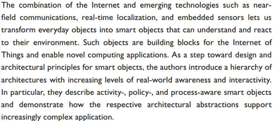 "Módulo 2: Resumo  Exercício 1: Kortuem, Gerd, et al. ""Smart objects as building blocks for"