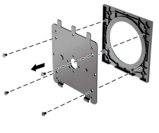 Remove the four screws from the mounting plate to separate the mounting plate from its cover.