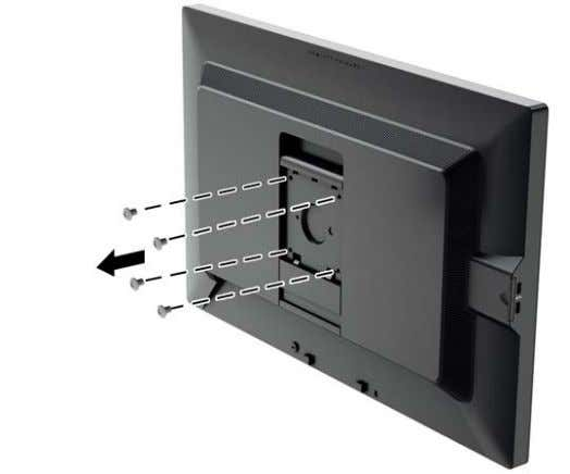 the VESA holes located on the rear of the monitor panel. 4. Install the mounting plate