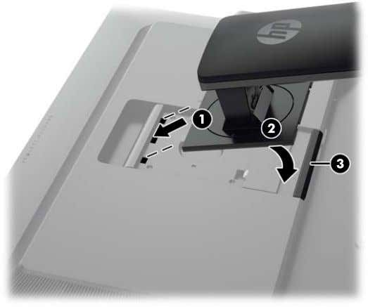 snaps into place. 4. The HP Quick Release 2 latch (3) pops up when the stand