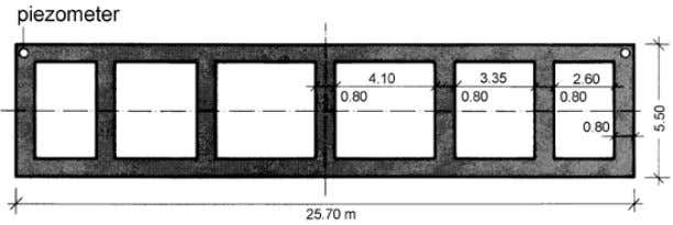 for a river bridge pier (scheme proven also for silos). Figure 4. Box-shaped foundations on slurry-trench