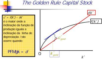 The Golden Rule Capital Stock dk * c * = f(k * ) −δk *