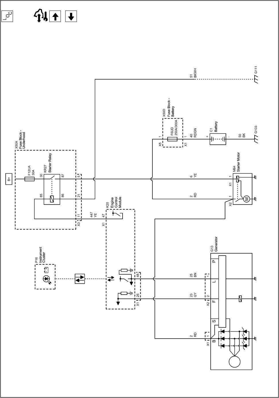 9-44 Engine Electrical 2203001 Starting and Charging Schematics (Start and Charge (LXV or 2H0)) 2010 -