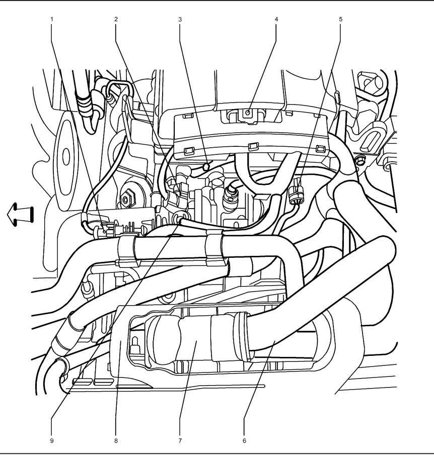 Upper Left Side of the Engine Components (2H0, LDE, LXV) 2224776 Legend (1) 1. B52A Heated