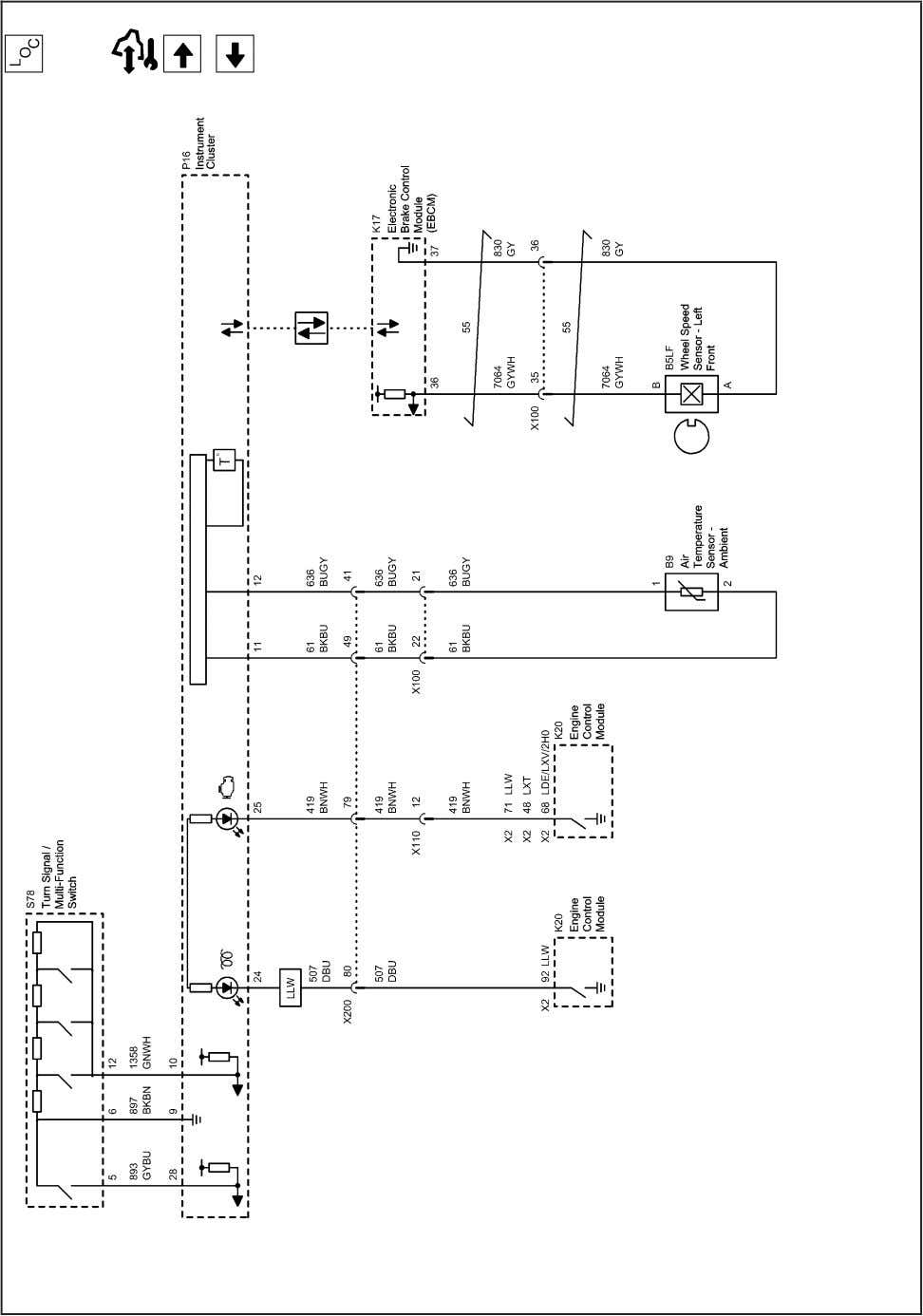 Displays and Gages 8-15 2202883 Instrument Cluster Schematics (Switches and Sensors (1 of 2)) 2010 -