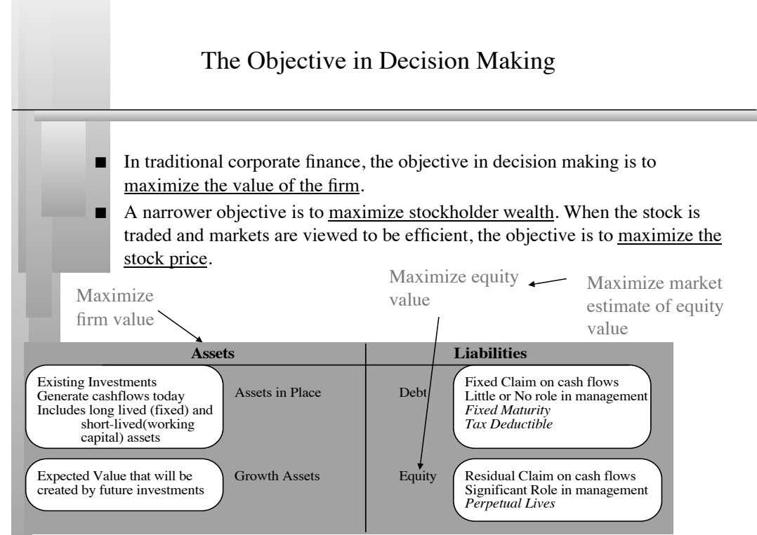 The Objective in Decision Making       In traditional corporate finance, the objective