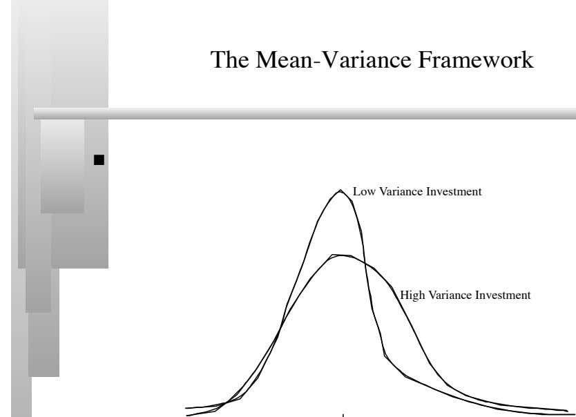 The Mean-Variance Framework    Low Variance Investment High Variance Investment