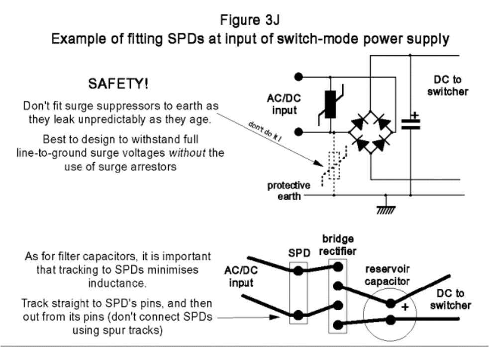 connect the protected circuitry to the SPD terminals too. Figure 3J also shows that the use