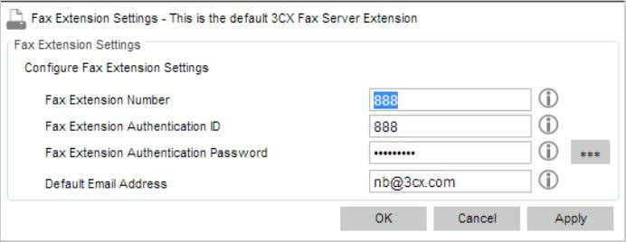 FaxExtensionSettings Tocreateanewfaxextension: FaxExtension 1. In the 3CX