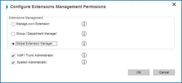 "2. Clickthe ​ ""ConfigurePermissions"" ​ button. 3. From the dialog window check ​ ""VoIP / Trunk"