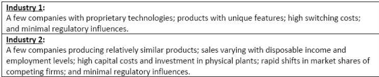 follows two industries with the following characteristics. Based on the above information, the analyst will most