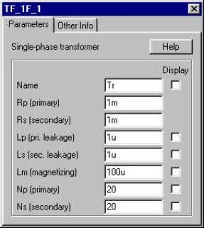 « Simulation Control » de Simcad PSIM demo version 5.0. Figure 4.4. Le transformateur TF_IF_1 de