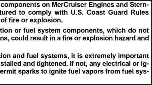Electrical, ignition and fuel system components on MerCruiser Engines and Stern- drives are designed and