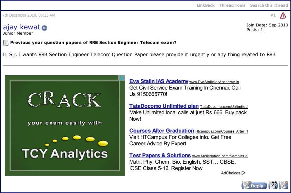 LinkBack Thread Tools Search this Thread 7th December 2010, 06:23 AM #1 ajay kewat Join