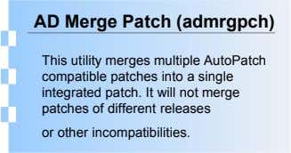 AD Merge Patch (admrgpch) This utility merges multiple AutoPatch compatible patches into a single integrated patch.