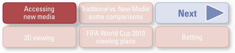 Accessing Traditionalvs.NewMedia: Next new media some comparisons 3D viewing FIFA World Cup 2010 viewing plans