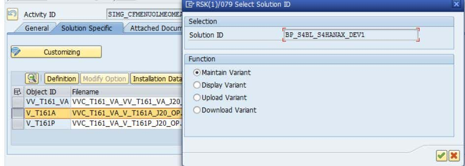 On the Installation Data Maintenance screen, select item VAR0002 then choose Delete Row. Choose Save. Case