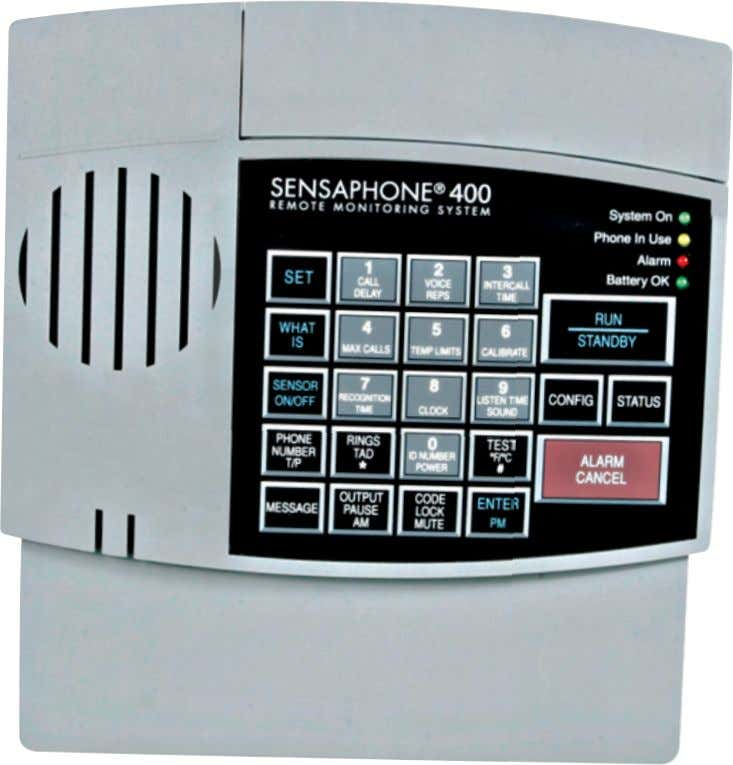 ® DESKTOP MONITORING SYSTEM Model 400 User's Manual Stay informed and in control of vital environmental