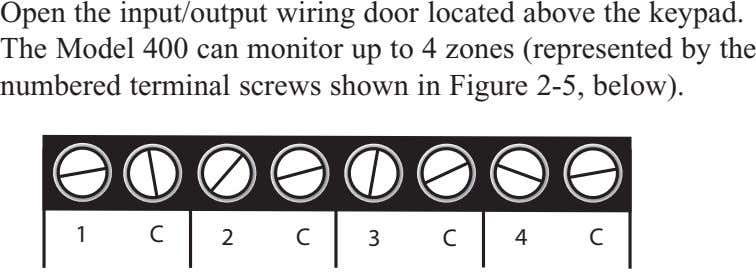 Open the input/output wiring door located above the keypad. The Model 400 can monitor up