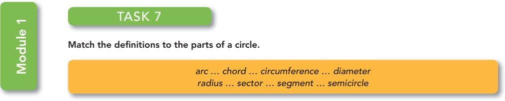 TASK 7 Match the definitions to the parts of a circle. arc … chord …