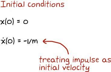 CHAPTER 2. TRANSFER FUNCTIONS Since we're accounting for the input force as an initial velocity we