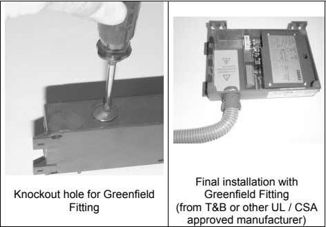 Knockout hole for Greenfield Fitting Final installation with Greenfield Fitting (from T&B or other UL
