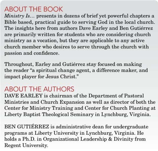 about thE book Ministry Is… presents in dozens of brief yet powerful chapters a Bible