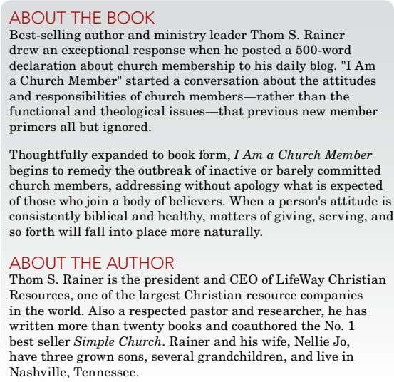 about thE book Best-selling author and ministry leader Thom S. Rainer drew an exceptional response
