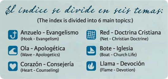 temas: (The index is divided into 6 main topics:) Anzuelo - Evangelismo Red - Doctrina