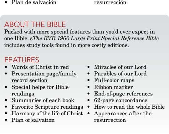 • Plan de salvación resurrección about thE biblE Packed with more special features than you'd