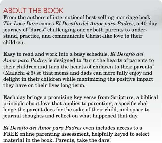 ABOuT ThE BOOk From the authors of international best-selling marriage book The Love Dare comes