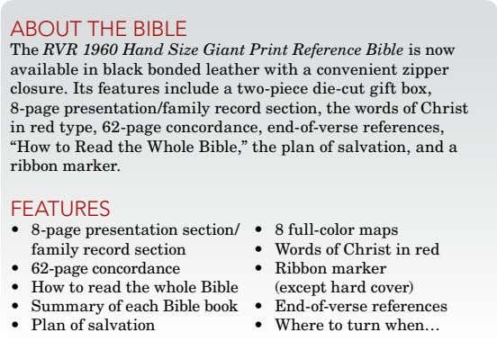 about thE biblE The RVR 1960 Hand Size Giant Print Reference Bible is now available