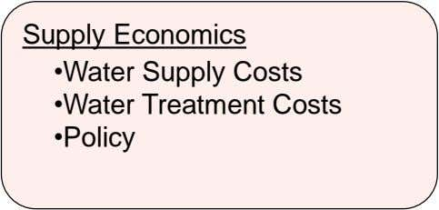 Supply Economics •Water Supply Costs •Water Treatment Costs •Policy