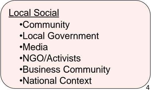 Local Social •Community •Local Government •Media •NGO/Activists •Business Community •National Context 4