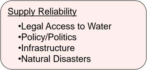 Supply Reliability •Legal Access to Water •Policy/Politics •Infrastructure •Natural Disasters