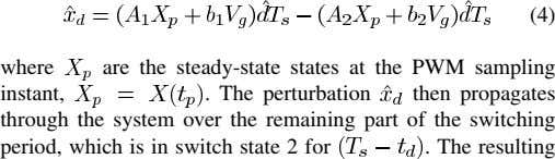 (4) where instant, are the steady-state states at the PWM sampling . The perturbation then propagates