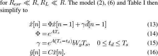 for , . The model (2), (6) and Table I then simplify to (13) (14) (15)
