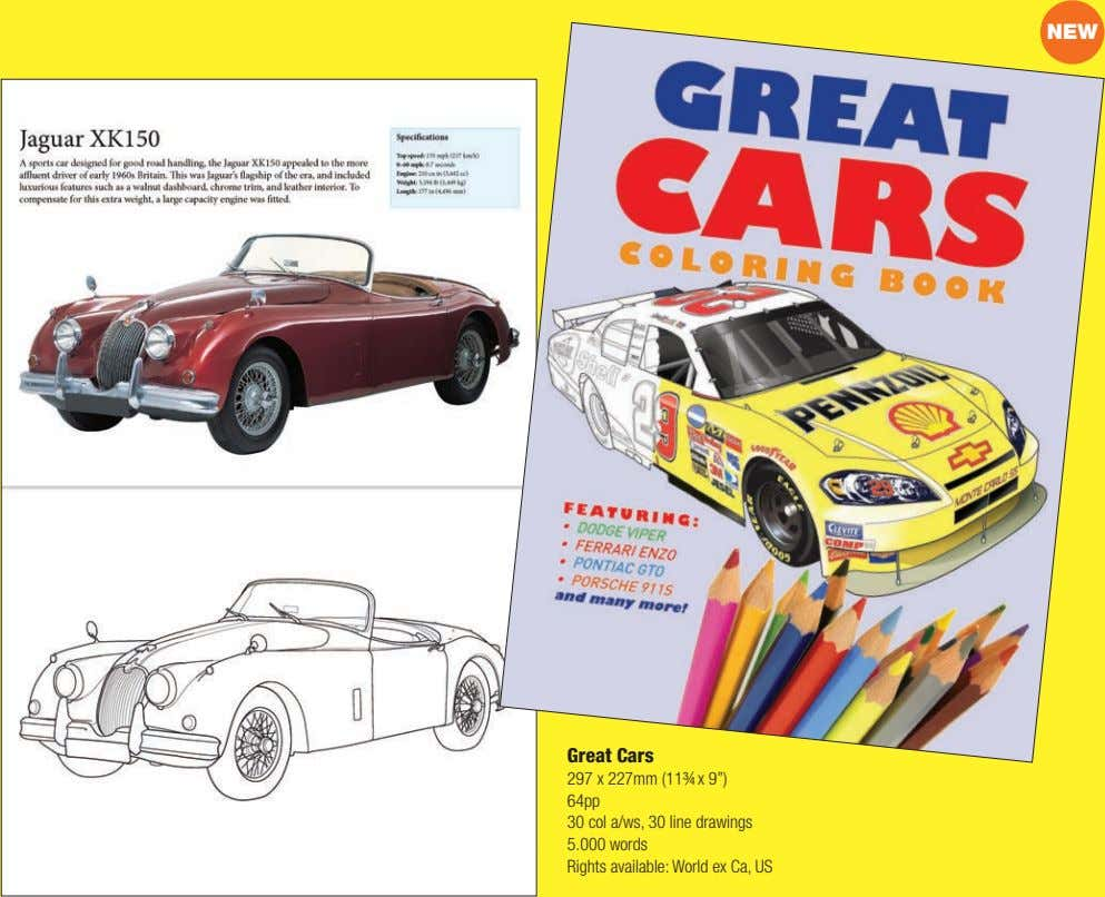 "NEW Great Cars 297 x 227mm (11¾ x 9"") 64pp 30 col a/ws, 30 line"