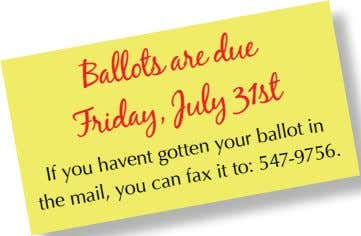 Ballots July are due Friday, 31st mail, havent fax it your gotten ballot in to: