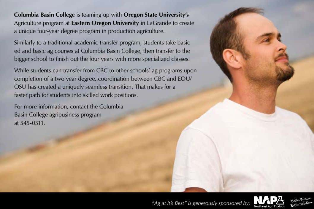 Columbia Basin College is teaming up with Oregon State University's Agriculture program at Eastern Oregon