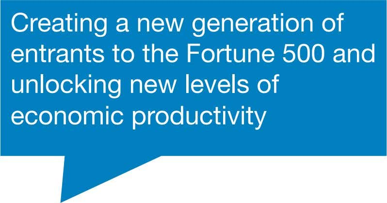 Creating a new generation of entrants to the Fortune 500 and unlocking new levels of