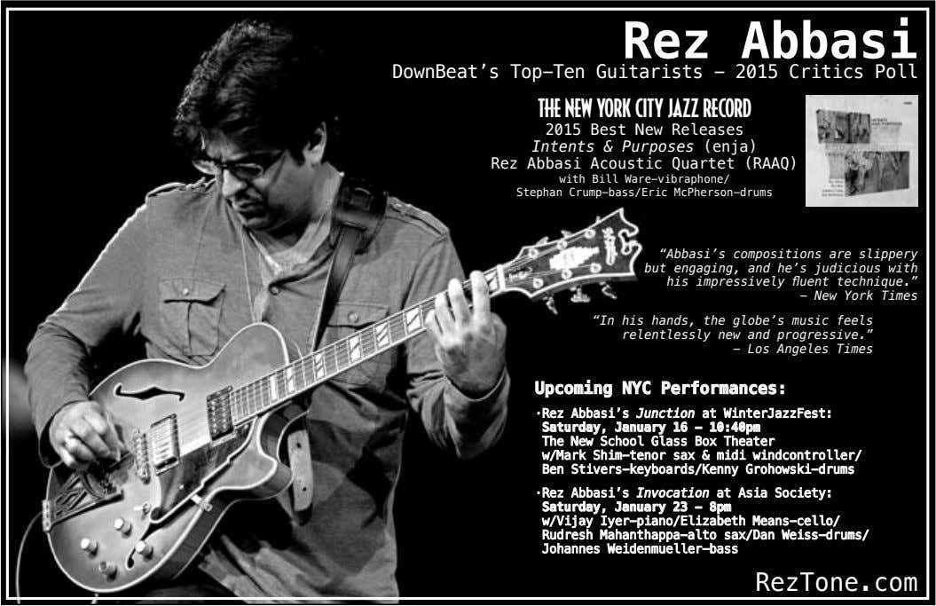 Rez Abbasi DownBeat's Top-Ten Guitarists - 2015 Critics Poll THE NEW YORK CITY JAZZ RECORD