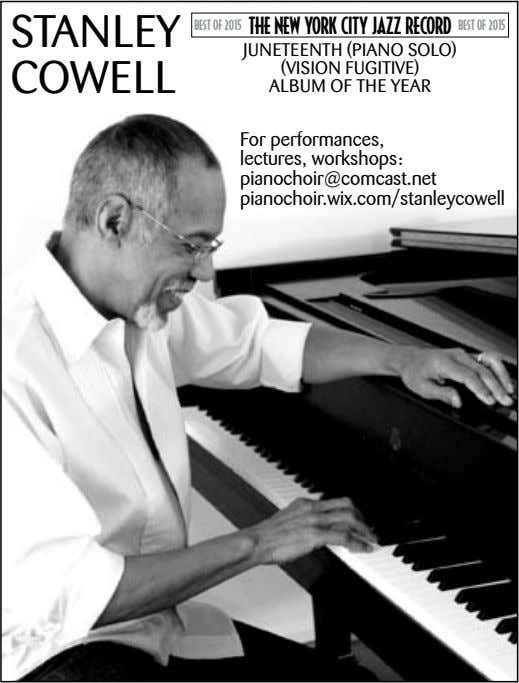 STANLEY BEST OF 2015 THE NEW YORK CITY JAZZ RECORD BEST OF 2015 COWELL JuNETEENTh