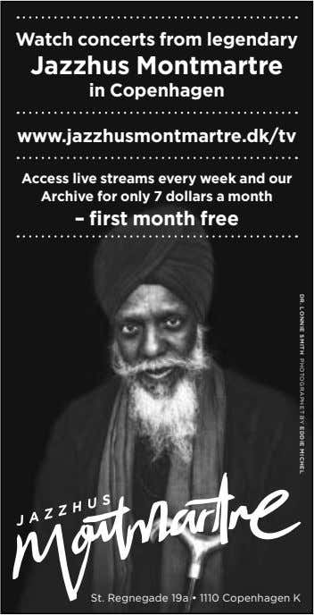 DR. LONNIE SMITH PHOTOGRAPHET BY EDDIE MICHEL Watch concerts from legendary Jazzhus Montmartre in Copenhagen