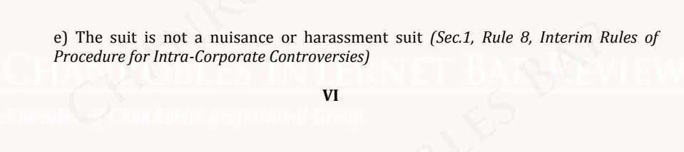 e) The suit is not a nuisance or harassment suit (Sec.1, Rule 8, Interim Rules